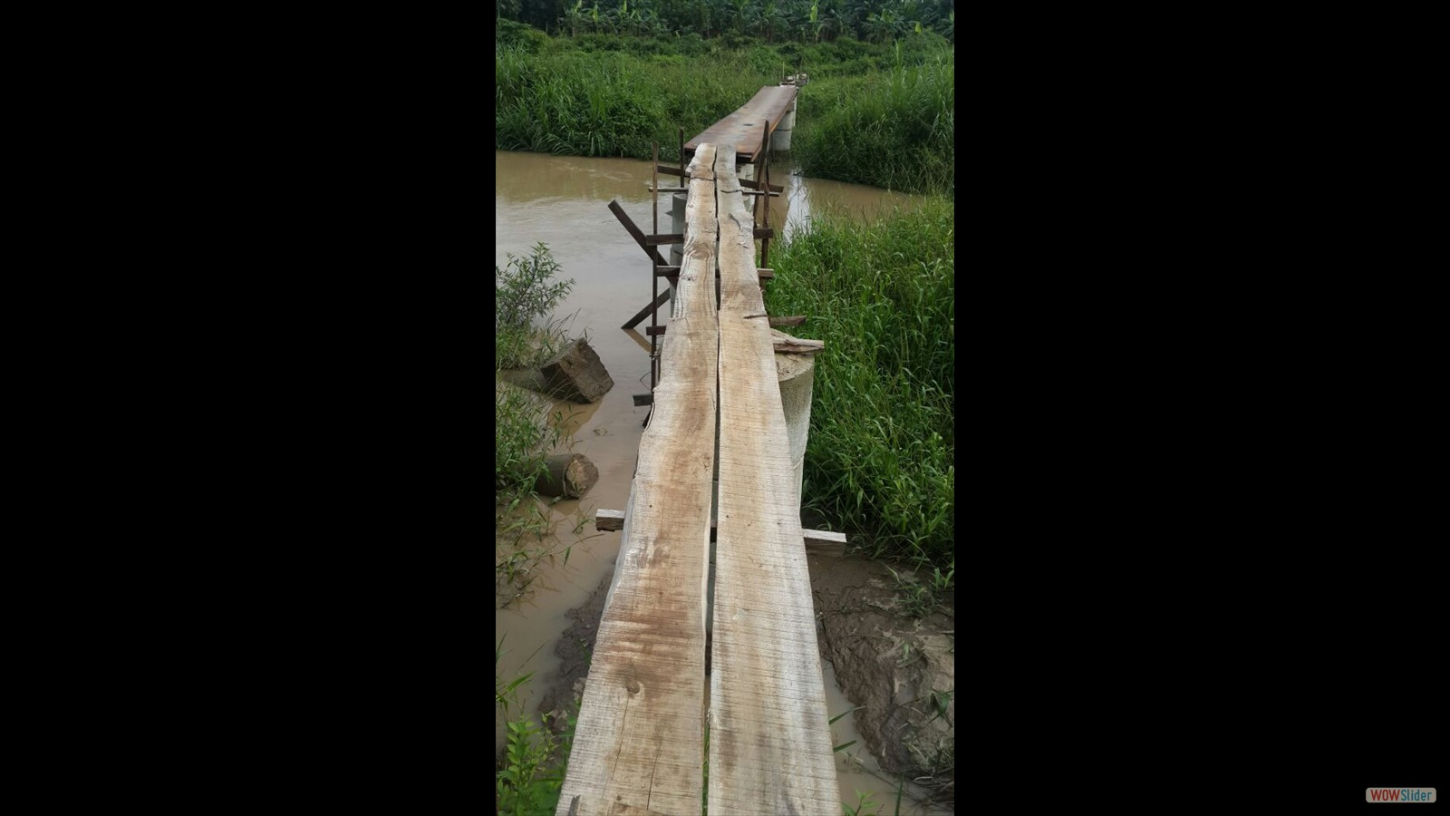 A footbridge has been built over the nearby river - summer 2016