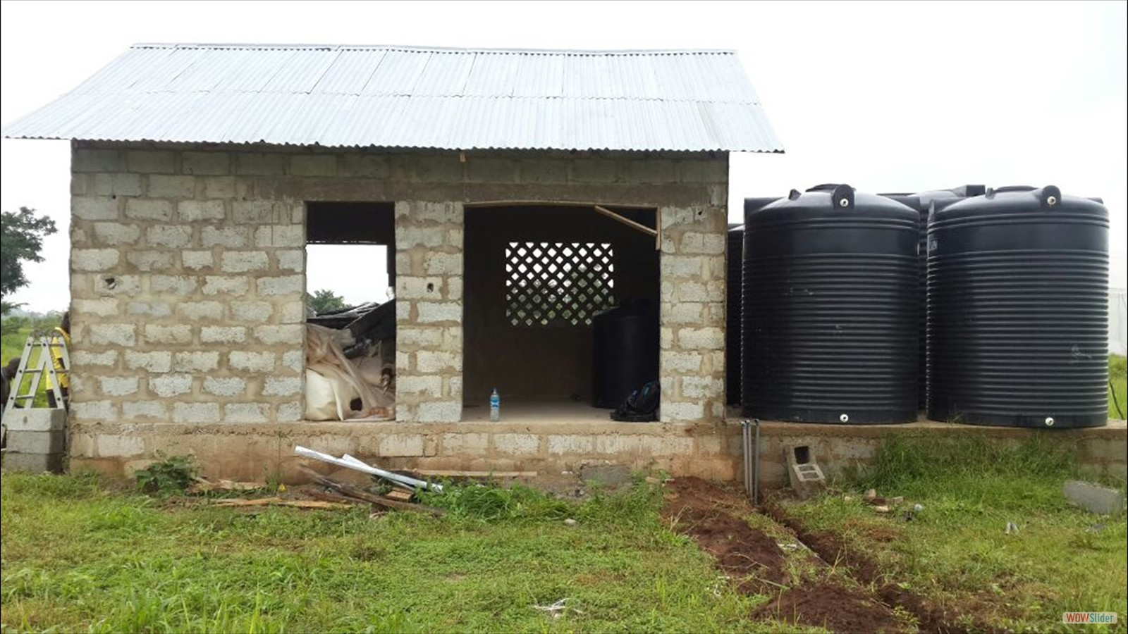 Pump room has been built, water tanks outside - summer 2016