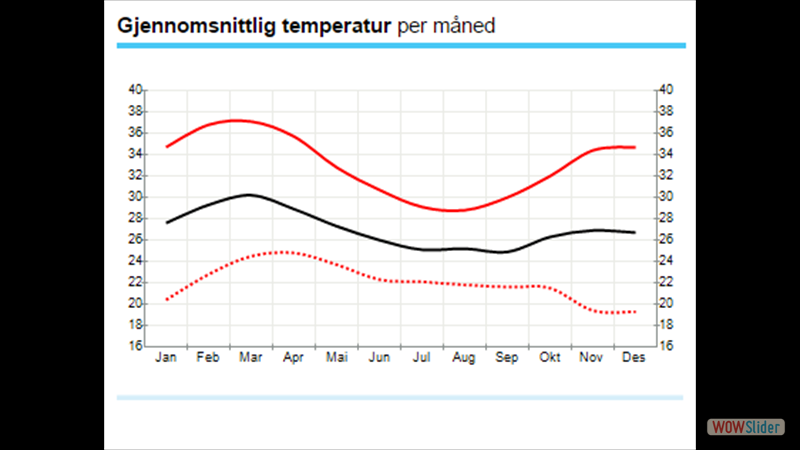 Abaja Nigeria has warm wheater year around. The black line is the daily/24 hours average temp. Screenshot from yr.no