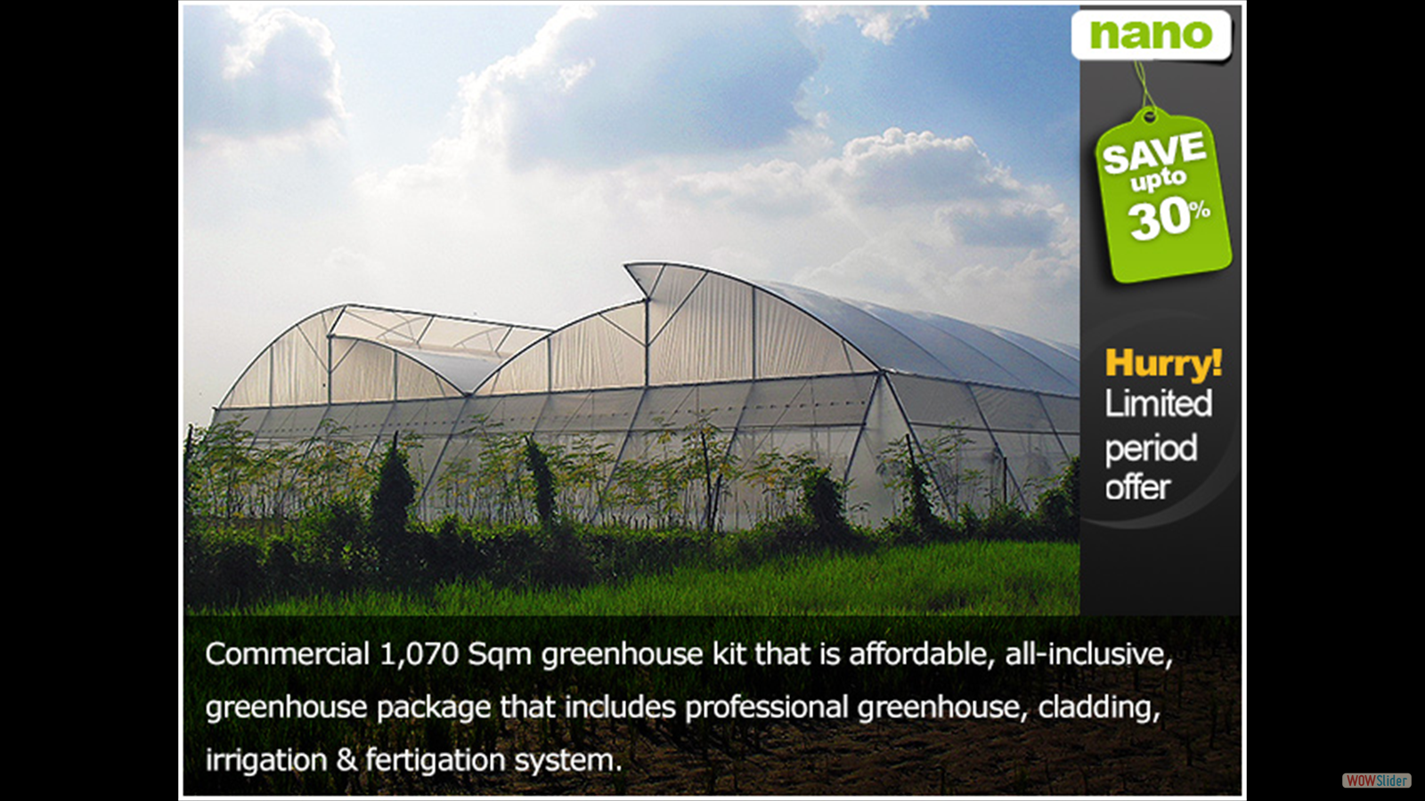 This type of greenhouse is the goal of the project - ordered summer 2015